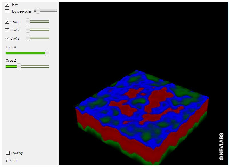 Software of Zenit optical coherent tomography scanner - cut on Z